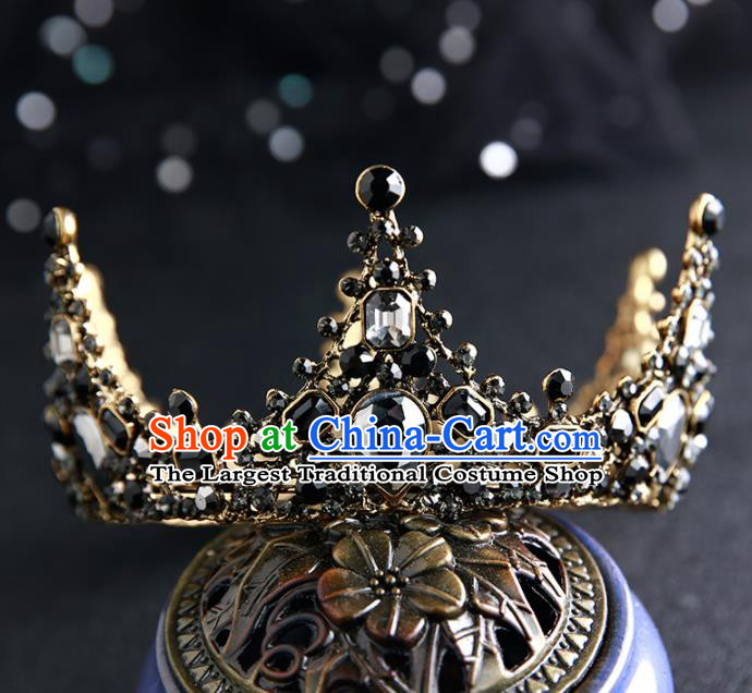 Handmade Top Grade Hair Accessories Baroque Black Royal Crown for Women