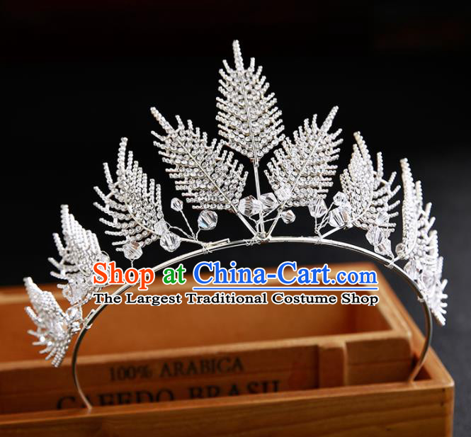 Handmade Top Grade Hair Accessories Baroque Crystal Leaf Royal Crown for Women