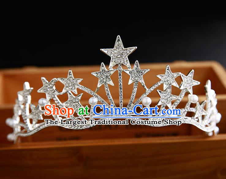 Handmade Top Grade Hair Accessories Baroque Crystal Stars Pearls Royal Crown for Women