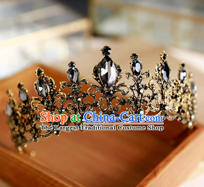 Handmade Top Grade Bride Hair Accessories Baroque Black Crystal Round Royal Crown for Women