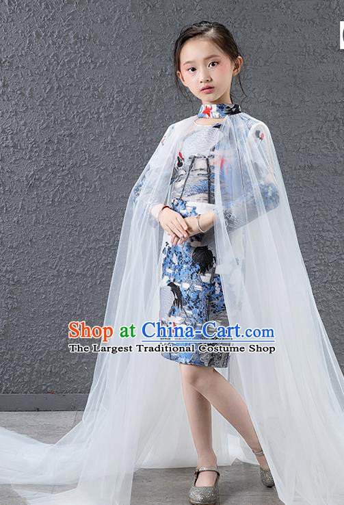 Children Modern Dance Costume Chinese Compere Catwalks Full Dress for Kids