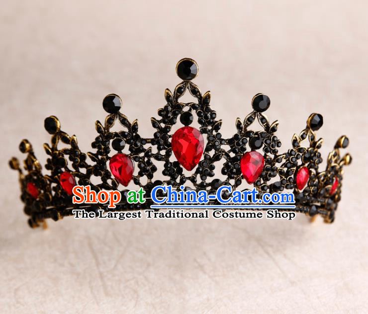 Handmade Top Grade Bride Red Crystal Royal Crown Hair Accessories Baroque Queen Hair Clasp for Women