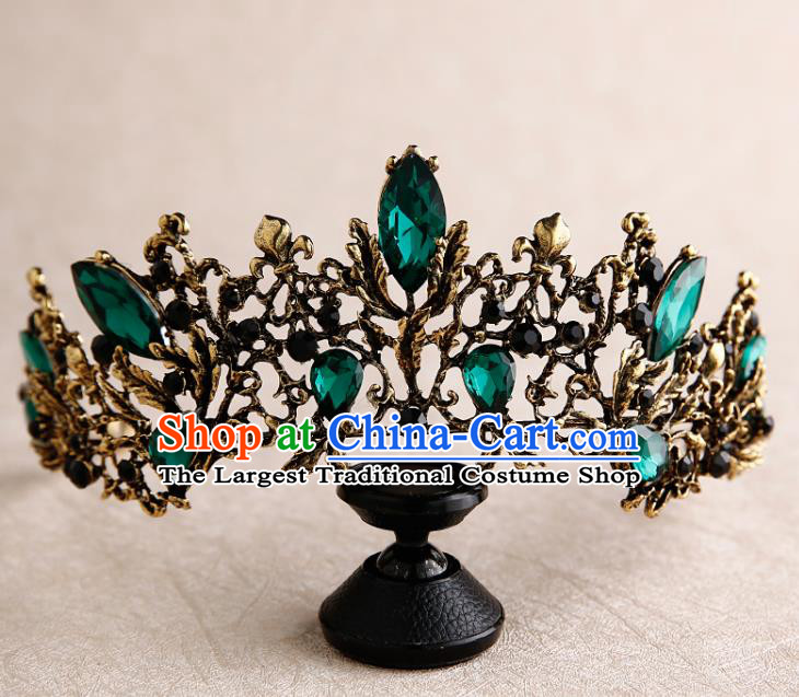 Handmade Top Grade Bride Royal Crown Green Crystal Hair Accessories Baroque Queen Hair Clasp for Women