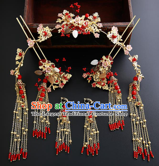 Chinese Ancient Traditional Hanfu Phoenix Coronet Hairpins Handmade Classical Hair Accessories for Women
