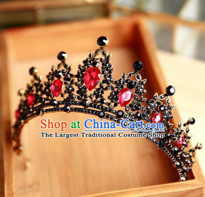 Handmade Top Grade Bride Hair Accessories Baroque Queen Red Crystal Black Royal Crown for Women