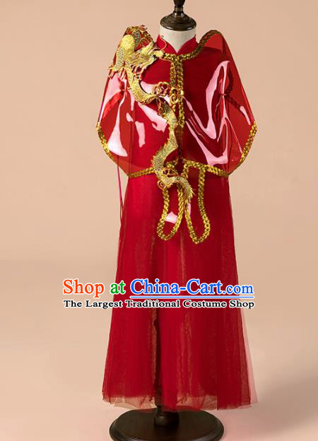 Children Catwalks Costume Girls Compere Modern Dance Red Veil Qipao Dress for Kids