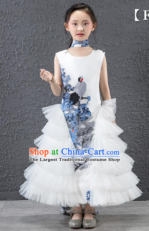 Children Modern Dance Costume Chinese Compere Catwalks White Veil Dress for Kids