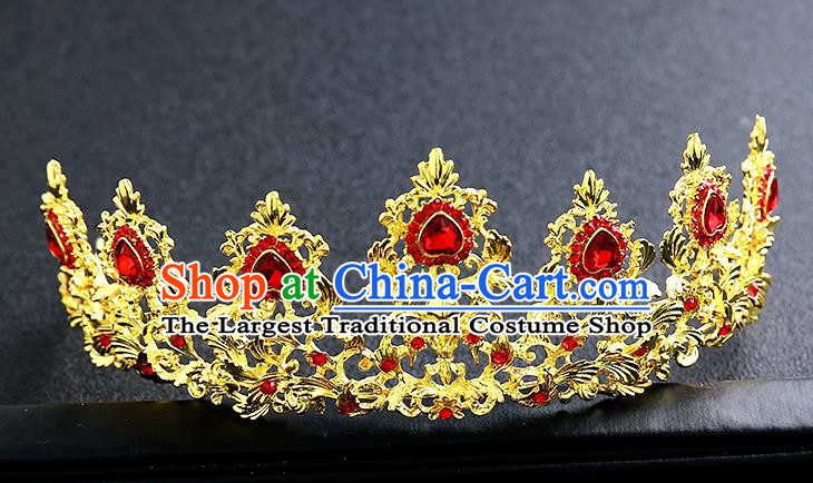 Top Grade Handmade Red Crystal Golden Royal Crown Hair Accessories Baroque Princess Hair Clasp for Women