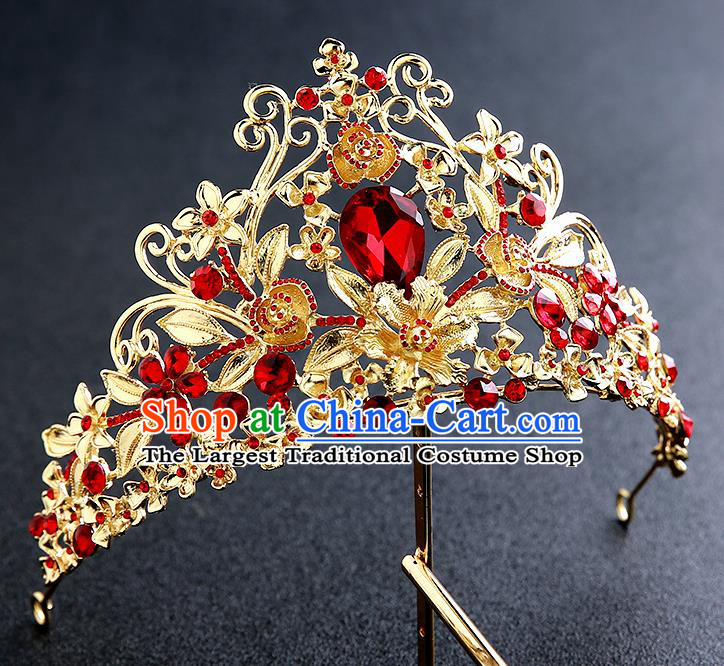 Top Grade Handmade Golden Royal Crown Hair Accessories Baroque Princess Hair Clasp for Women