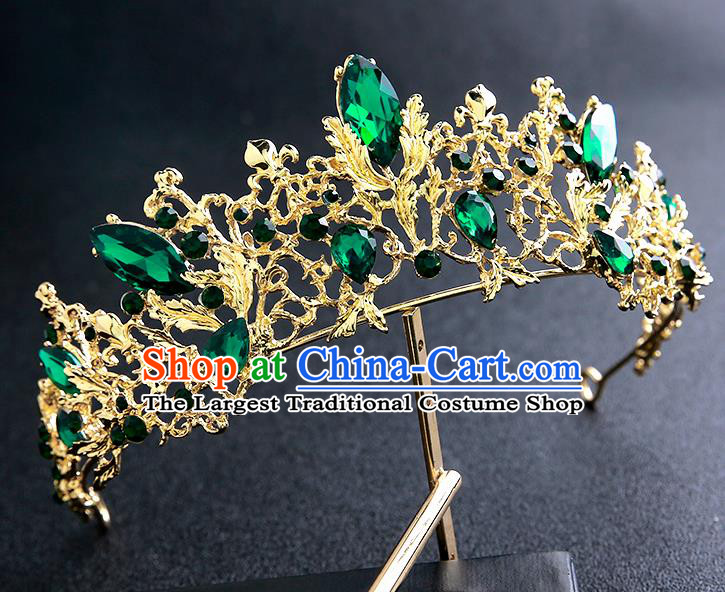 Top Grade Handmade Baroque Green Crystal Royal Crown Hair Accessories Princess Hair Clasp for Women