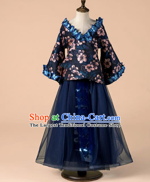 Children Catwalks Costume Girls Compere Modern Dance Navy Veil Full Dress for Kids