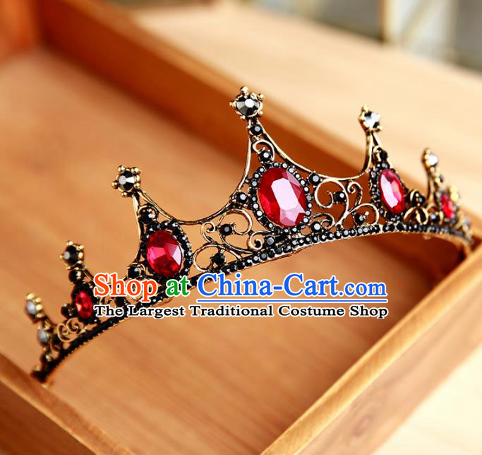 Handmade Top Grade Bride Ruby Hair Clasp Hair Accessories Baroque Queen Royal Crown for Women