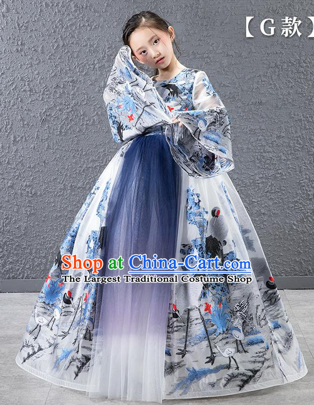 Children Modern Dance Catwalks Costume Chinese Stage Performance Compere Full Dress for Kids