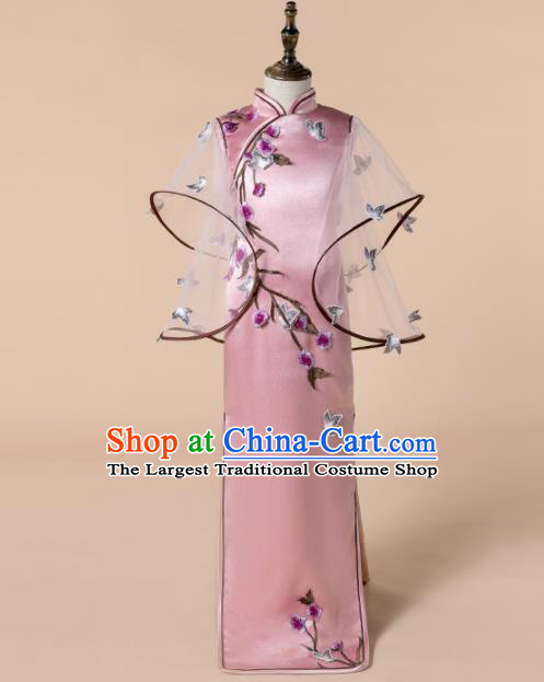 Children Princess Catwalks Costume Girls Compere Modern Dance Pink Qipao Dress for Kids