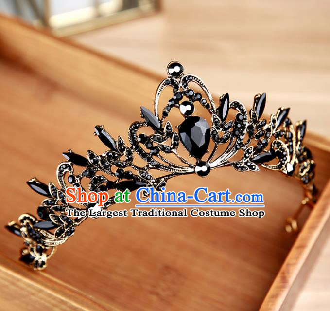 Handmade Top Grade Bride Black Hair Clasp Hair Accessories Baroque Queen Royal Crown for Women