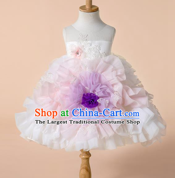 Children Princess Catwalks Costume Girls Compere Modern Dance White Veil Bubble Full Dress for Kids
