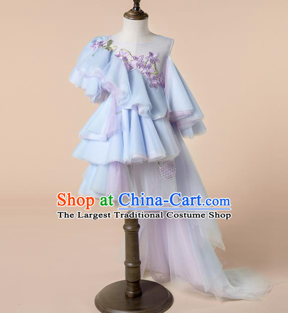 Children Princess Catwalks Costume Girls Compere Modern Dance Blue Veil Bubble Full Dress for Kids