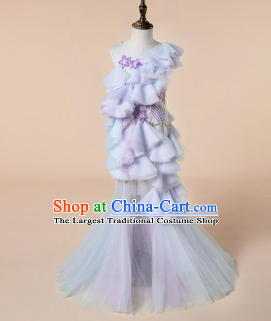 Children Princess Catwalks Costume Girls Compere Modern Dance Purple Veil Full Dress for Kids