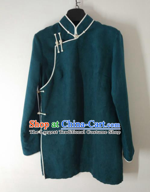 Traditional Chinese Mongol Nationality Costumes Mongols Female Folk Dance Green Blouse for Women
