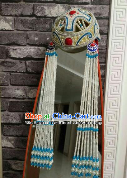 Traditional Chinese Mongol Nationality Princess Hats Mongols Bride Folk Dance Blue Beads Tassel Hat for Women