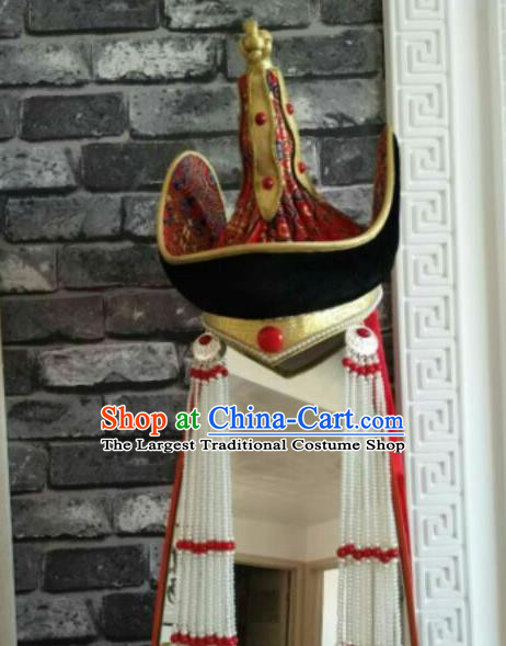 Traditional Chinese Mongol Nationality Hats Mongols Princess Folk Dance Red Hat for Women