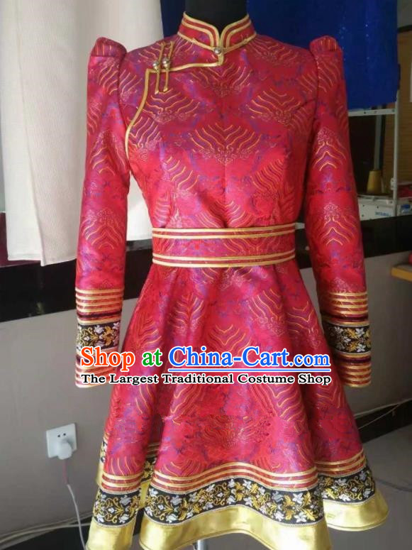 Traditional Chinese Mongol Nationality Folk Dance Costumes Mongolian Ethnic Female Pink Dress for Women