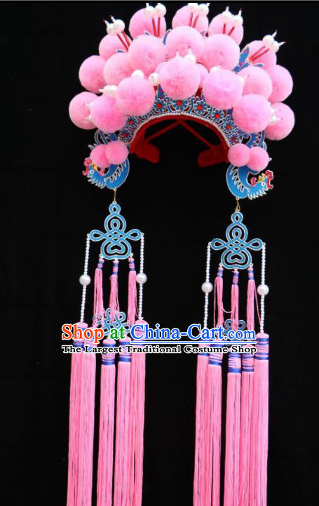 Traditional Chinese Beijing Opera Princess Hats Peking Opera Diva Pink Tassel Phoenix Coronet for Women