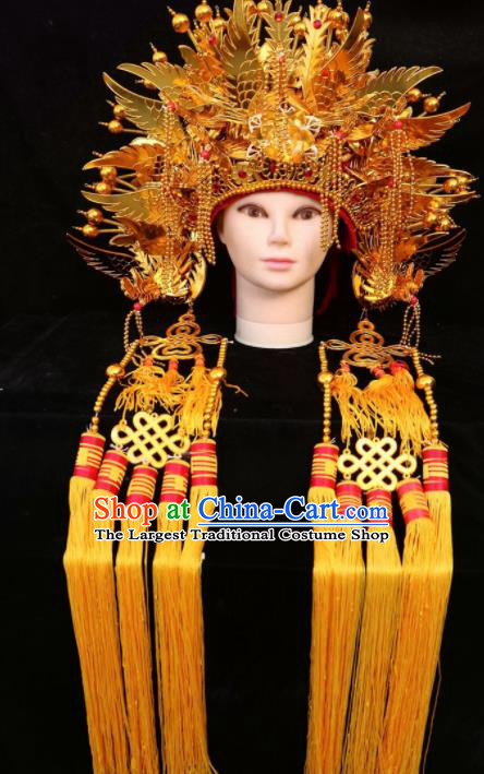 Traditional Chinese Beijing Opera Princess Hats Peking Opera Diva Golden Phoenix Coronet for Women