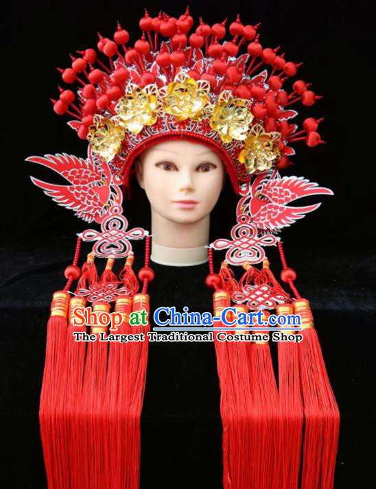 Traditional Chinese Beijing Opera Princess Hats Peking Opera Diva Red Phoenix Coronet for Women