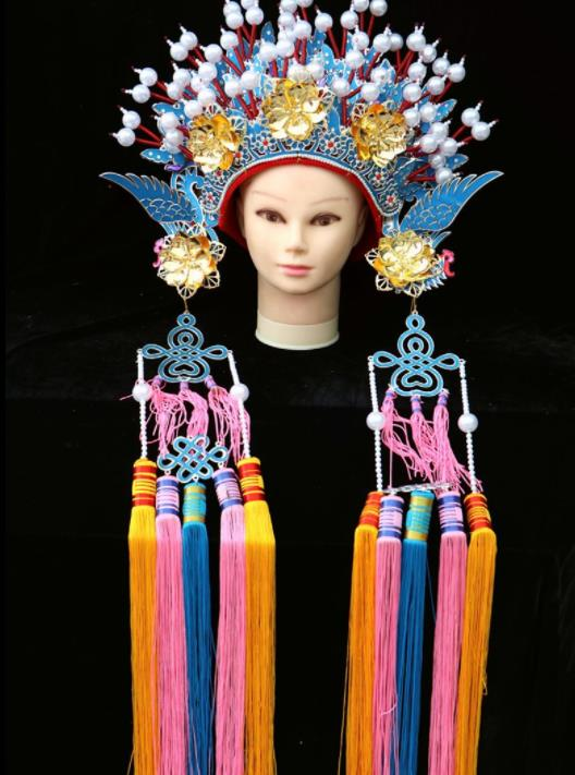 Traditional Chinese Peking Opera Diva Blue Phoenix Coronet Beijing Opera Princess Hats for Women