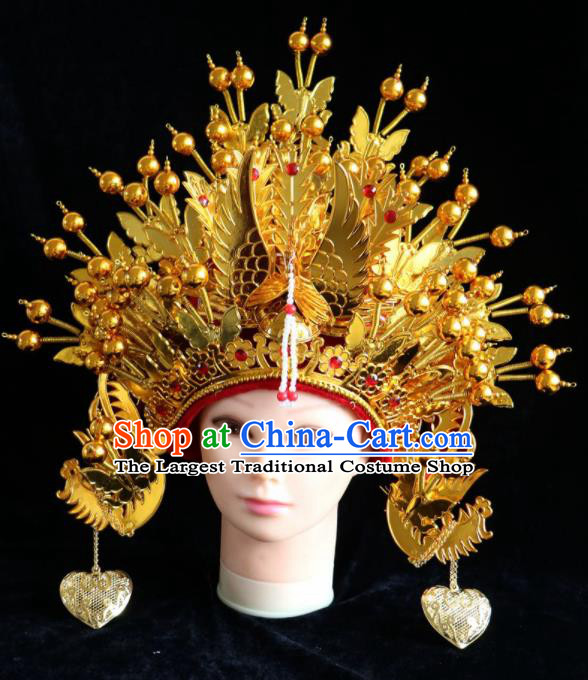 Traditional Chinese Peking Opera Bride Golden Phoenix Coronet Beijing Opera Princess Hats for Women
