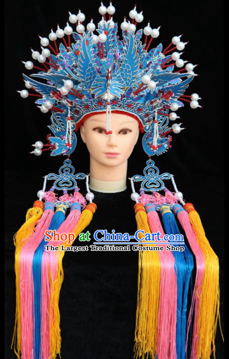 Traditional Chinese Peking Opera Bride Blue Phoenix Coronet Beijing Opera Princess Hats for Women