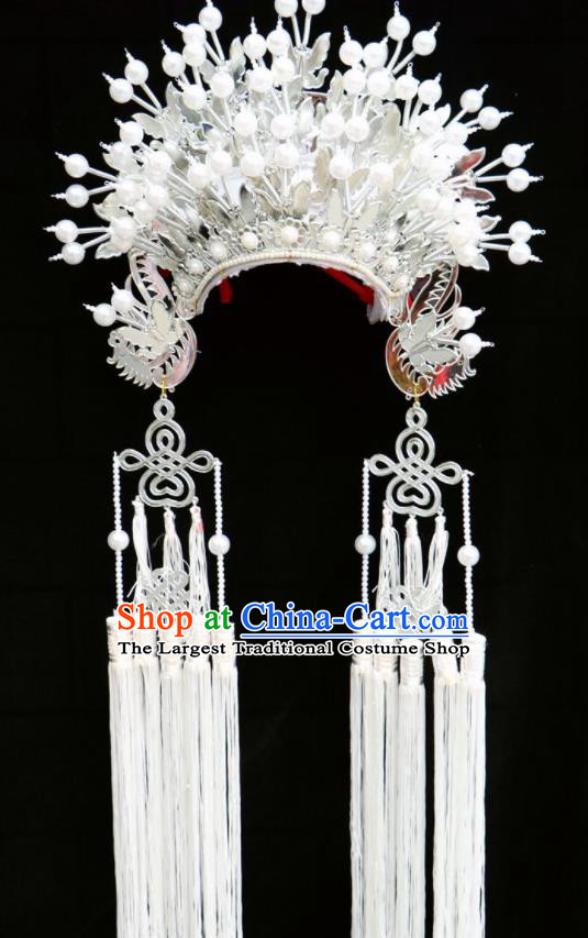 Chinese Traditional Peking Opera Bride White Phoenix Coronet Beijing Opera Princess Chaplet Hats for Women