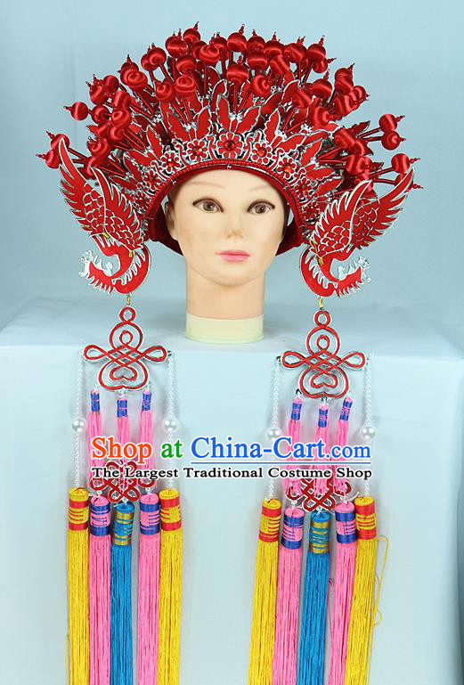 Chinese Traditional Peking Opera Bride Phoenix Coronet Beijing Opera Princess Red Chaplet Hats for Women