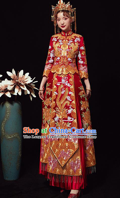 Chinese Traditional Wedding Costumes Xiuhe Suits Ancient Bride Embroidered Red Full Dress for Women