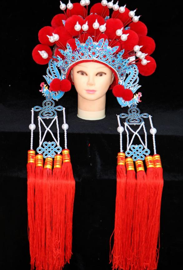 Chinese Traditional Peking Opera Actress Bride Red Phoenix Coronet Beijing Opera Princess Chaplet Hats for Women