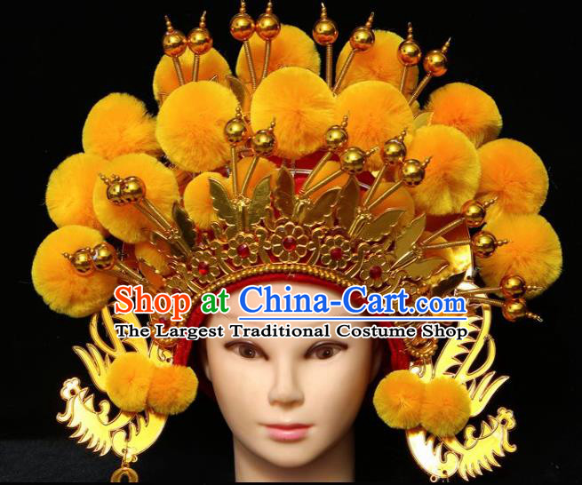 Chinese Traditional Peking Opera Bride Phoenix Coronet Beijing Opera Princess Yellow Chaplet Hats for Women