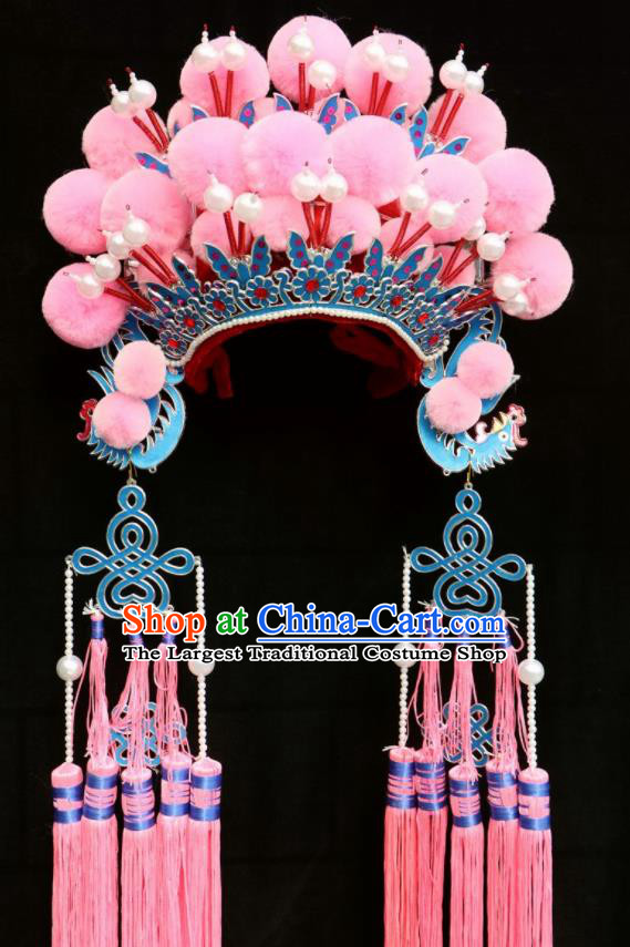 Chinese Traditional Peking Opera Actress Bride Pink Phoenix Coronet Beijing Opera Princess Chaplet Hats for Women