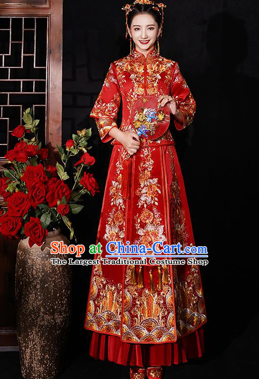 Chinese Traditional Wedding Costumes Bride Embroidered Peony Red Xiuhe Suits Ancient Full Dress for Women