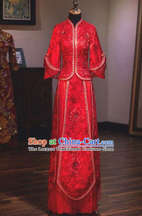 Chinese Traditional Wedding Costumes Bride Embroidered Xiuhe Suits Ancient Toast Red Full Dress for Women
