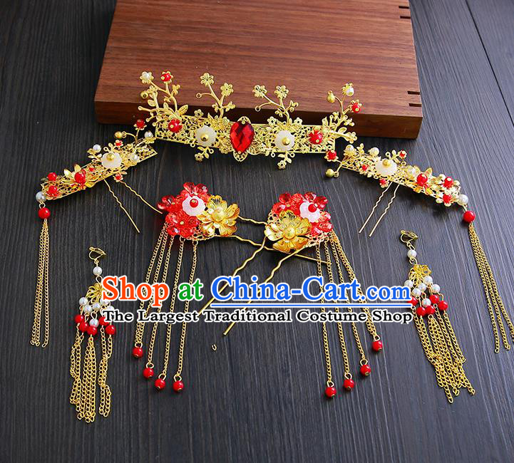 Chinese Ancient Traditional Hanfu Wedding Tassel Hair Clips Hairpins Handmade Classical Hair Accessories Complete Set for Women