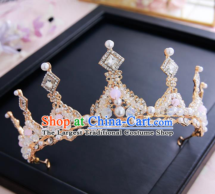 Top Grade Handmade Baroque Crystal Pearls Royal Crown Hair Accessories Princess Hair Clasp for Women