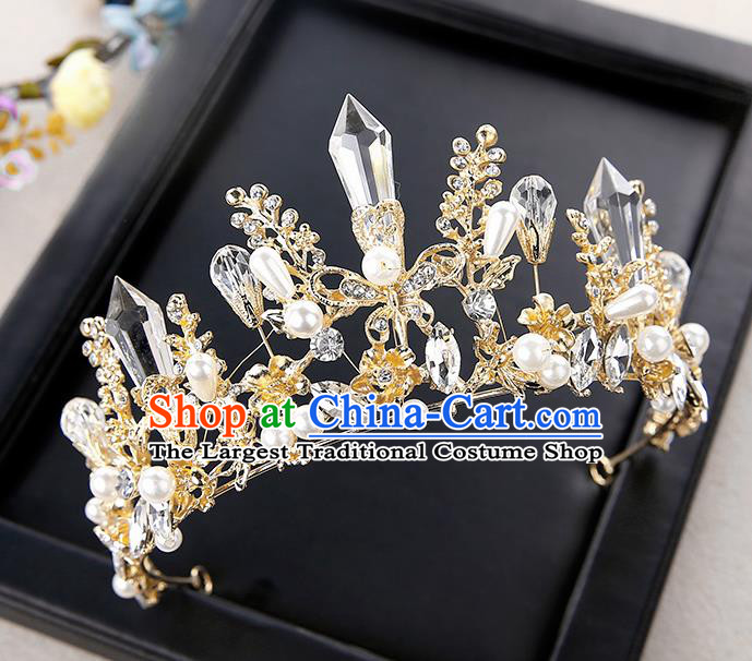 Top Grade Handmade Baroque Crystal Royal Crown Hair Accessories Princess Hair Clasp for Women