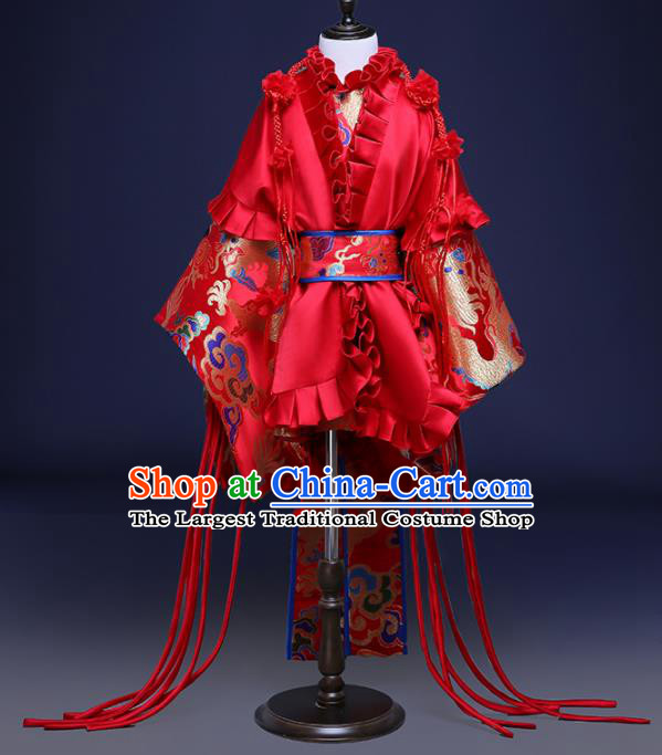 Chinese Children Catwalks Costume Girls Compere Modern Dance Red Full Dress for Kids