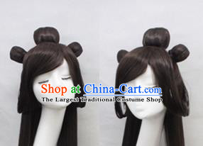 Chinese Ancient Cosplay Princess Wigs Swordswoman Chignon Handmade Wig Sheath