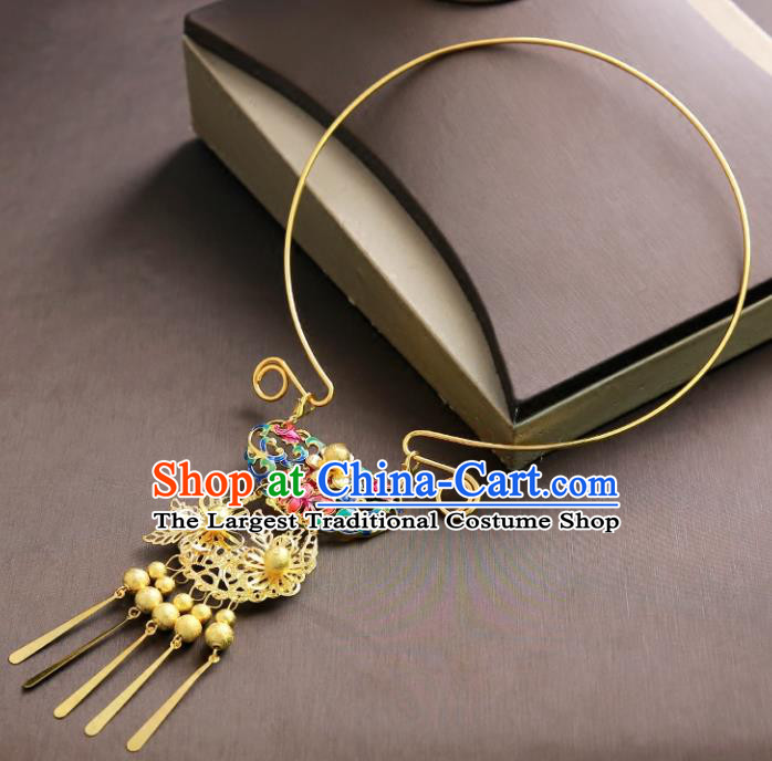 Chinese Ancient Handmade Blueing Necklace Traditional Classical Hanfu Jewelry Accessories for Women