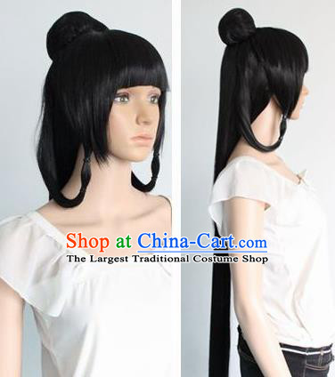 Chinese Ancient Cosplay Palace Wigs Traditional Princess Chignon Handmade Wig Sheath