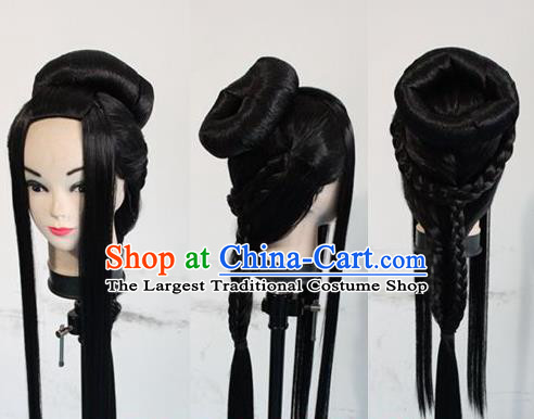Chinese Ancient Cosplay Imperial Consort Wigs Traditional Princess Chignon Handmade Wig Sheath