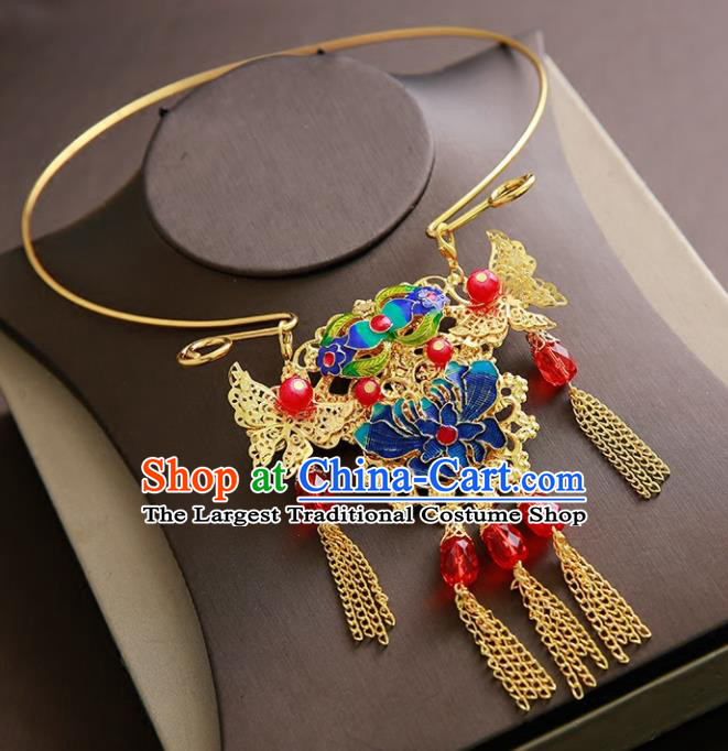 Chinese Ancient Handmade Blueing Chrysanthemum Necklace Traditional Classical Hanfu Jewelry Accessories for Women