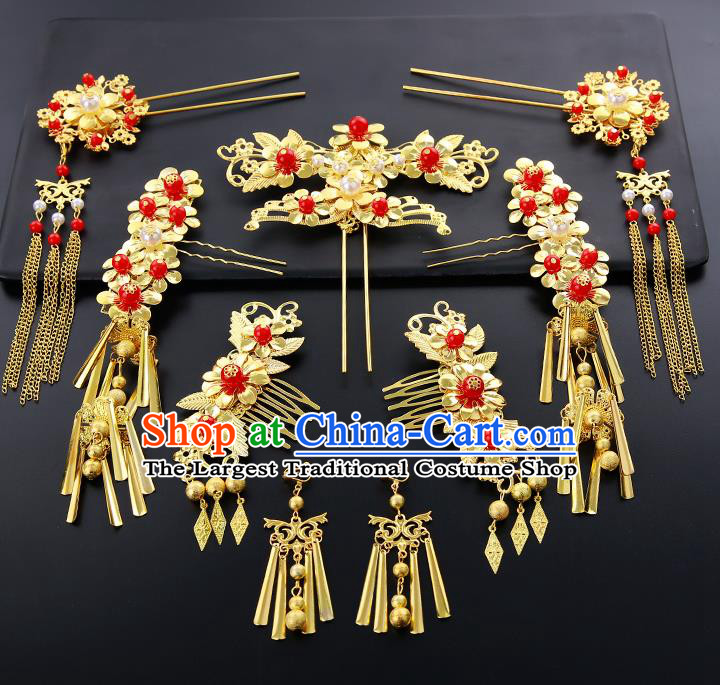 Chinese Ancient Traditional Hanfu Golden Hair Combs Hairpins Handmade Bride Classical Hair Accessories for Women